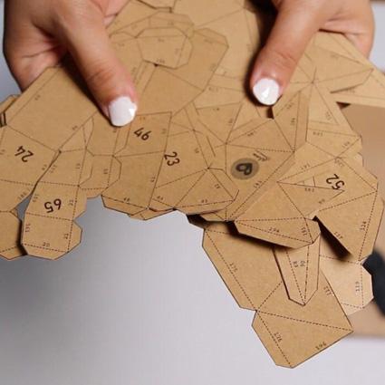پازل سه بعدی دکوراتیو و دیوار کوب مقوایی - خرگوش A20