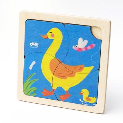 پازل چوبی 4 تکه حیوانات ( اردک ) بیس