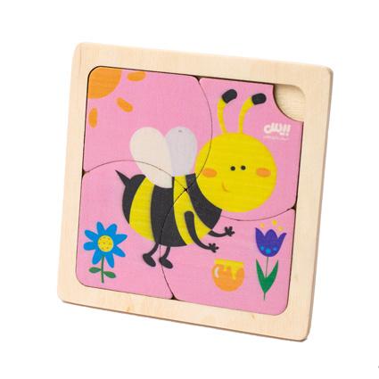 پازل چوبی 4 تکه حیوانات ( زنبور )