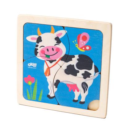 پازل چوبی 4 تکه حیوانات ( گاو ) 