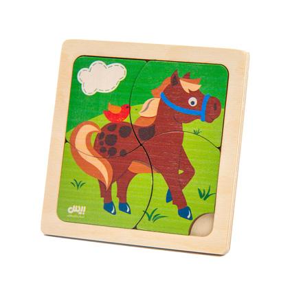 پازل چوبی 4 تکه حیوانات ( اسب ) 