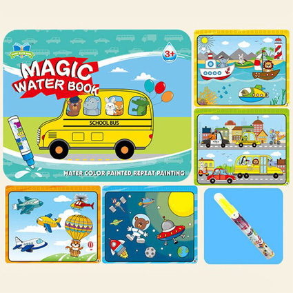 کتاب نقاشی جادویی اتوبوس حیوانات Magic Water Book